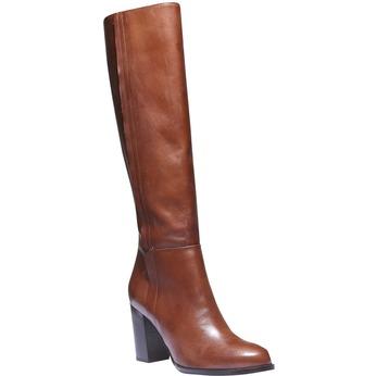 Kožené kozačky na podpatku bata, hnědá, 794-3603 - 13