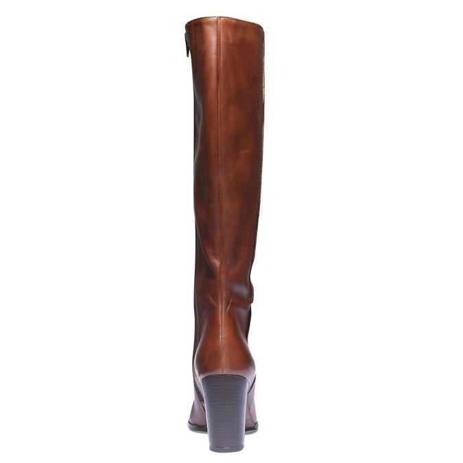 Kožené kozačky na podpatku bata, hnědá, 794-3603 - 17
