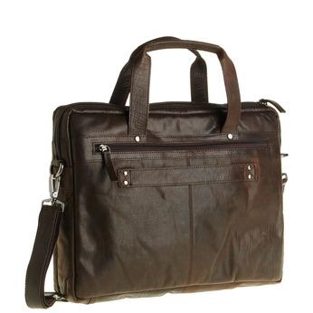 Kožená taška se zipem bata, hnědá, 964-4101 - 13