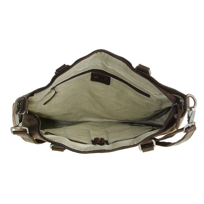 Kožená kabelka s odnímatelným popruhem bata, hnědá, 964-4132 - 15