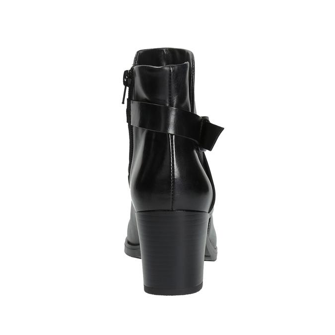 Kožená kotníčková obuv na podpatku bata, černá, 796-6609 - 17