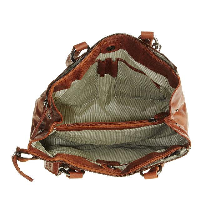 Kožená kabelka s odnímatelným popruhem bata, hnědá, 964-3123 - 15