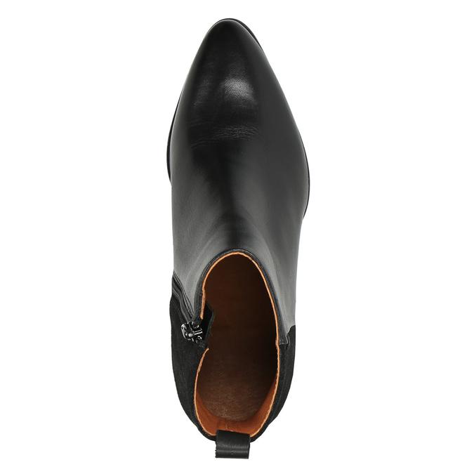 Kožená kotníčková obuv na stabilním podpatku ten-points, černá, 714-6006 - 19