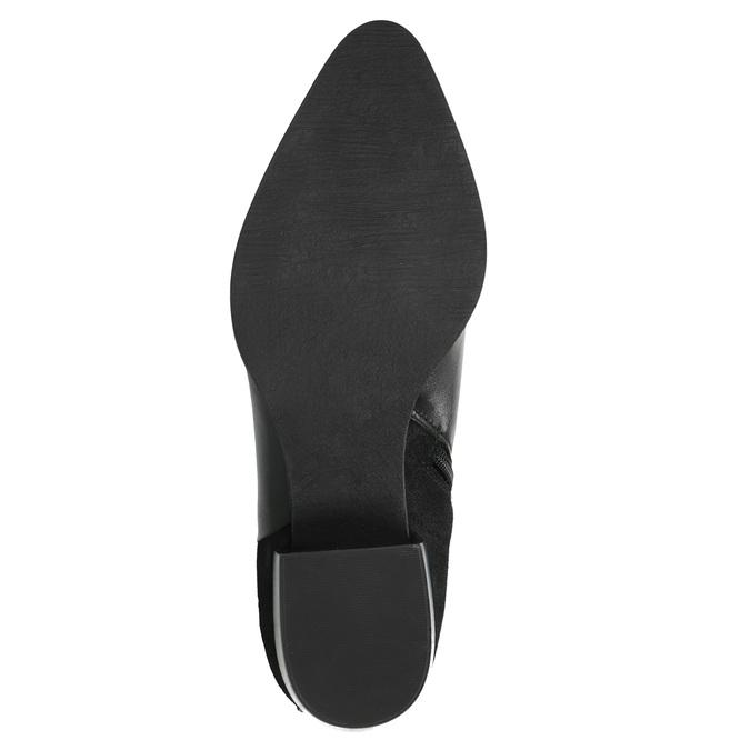 Kožená kotníčková obuv na stabilním podpatku ten-points, černá, 714-6006 - 26