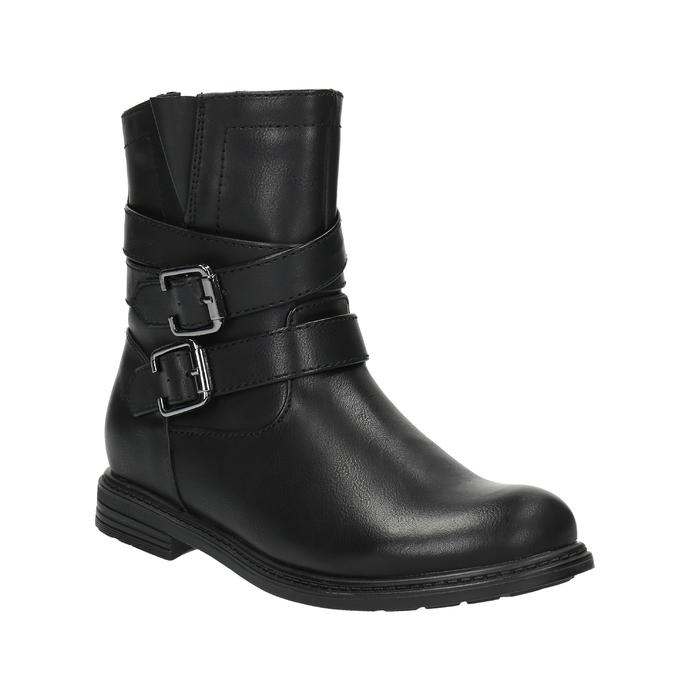 Dívčí kotníčková obuv s přezkami mini-b, černá, 391-6260 - 13