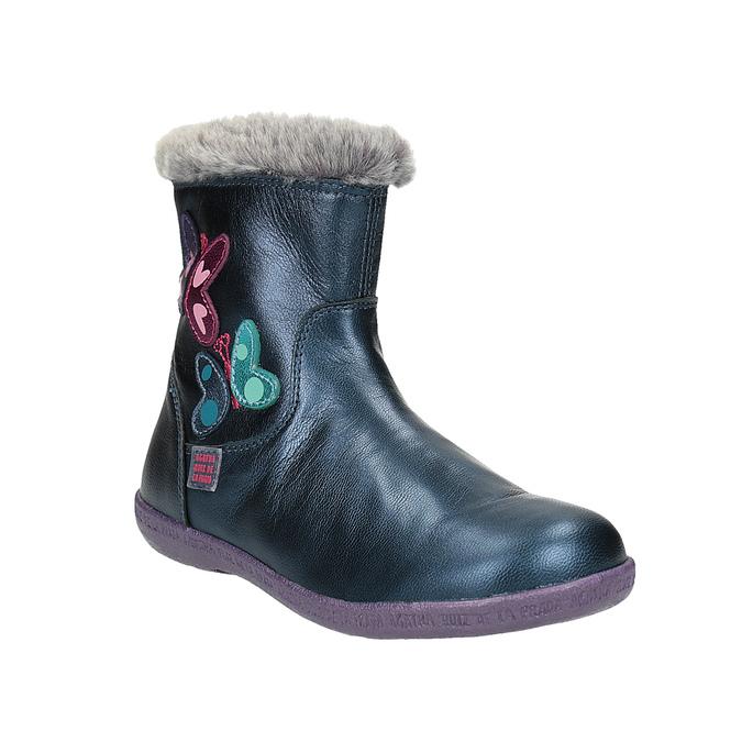Kožená kotníčková obuv dívčí, modrá, 294-9001 - 13
