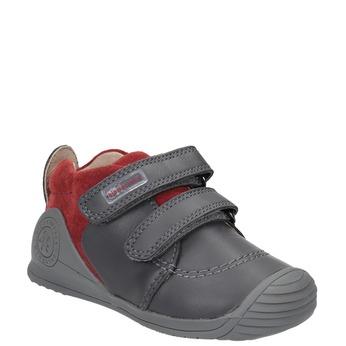Dětská kožená obuv na suché zipy biomecanics, šedá, 114-5001 - 13