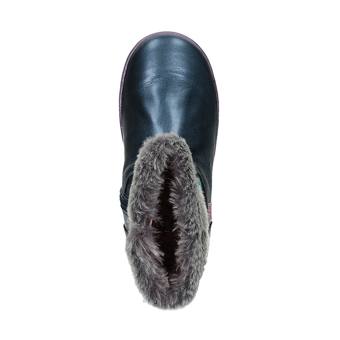 Kožená kotníčková obuv dívčí, modrá, 294-9001 - 19
