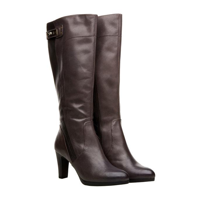 Kožené kozačky na podpatku bata, šedá, 794-6120 - 26