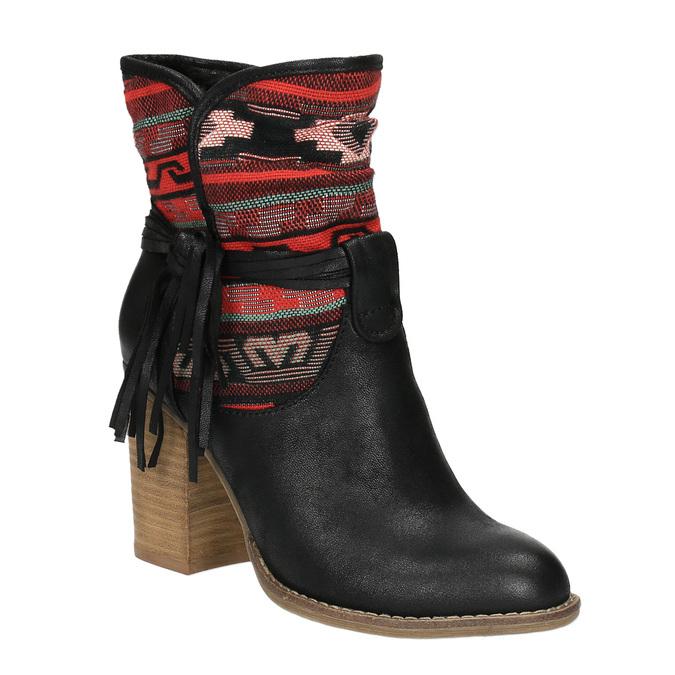 Kotníčkové kozačky ve Western stylu se zateplením bata, černá, 699-6603 - 13