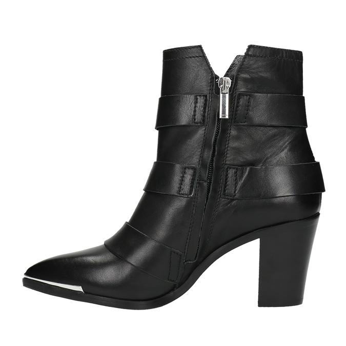 Kožená kotníčková obuv s přezkami diesel, černá, 724-6425 - 26