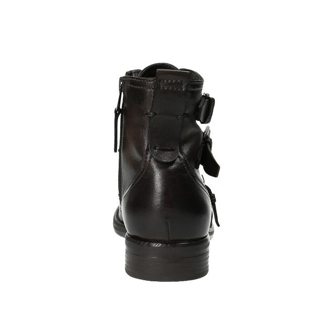 Kožená kotníčková obuv s přezkami bata, hnědá, 894-4683 - 17