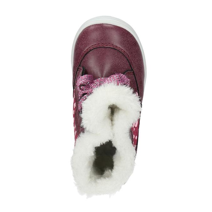 Dívčí zimní obuv s kožíškem bubblegummer, červená, 199-5600 - 19