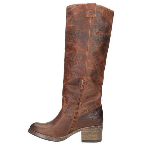 Vysoké kožené kozačky ve Western stylu bata, hnědá, 696-3608 - 19