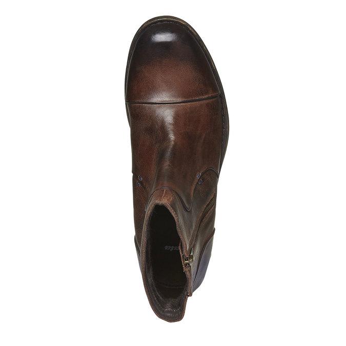 Kožené kotníkové boty se zipem bata, hnědá, 894-4131 - 19