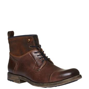 Kožené kotníkového boty šněrovací bata, hnědá, 894-3112 - 13