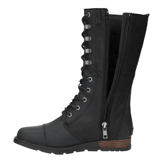Dámská kožená obuv šněrovací sorel, černá, 596-6003 - 19