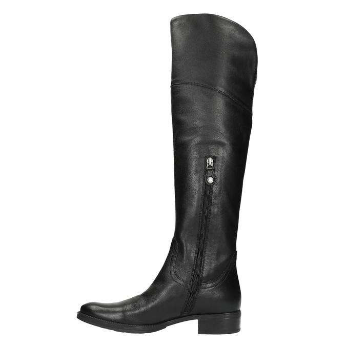 Dámské kožené kozačky nad kolena geox, černá, 594-6036 - 19