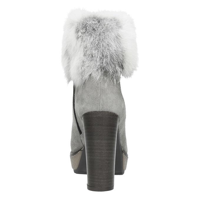 Kožená kotníčková obuv s pravým kožíškem manas, šedá, 793-2603 - 17