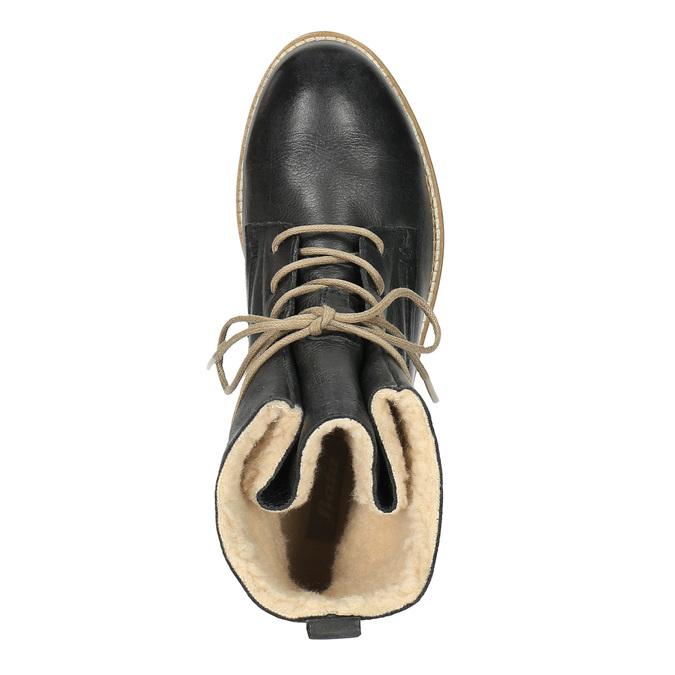 Kožená kotníčková obuv se zateplením bata, černá, 594-6610 - 19