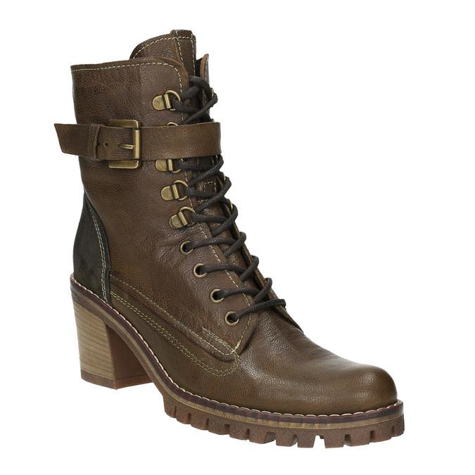 Kožená kotníčková obuv na podpatku manas, hnědá, 696-7601 - 13