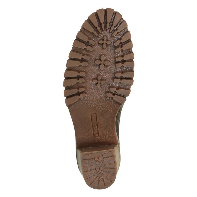 Kožená kotníčková obuv na podpatku manas, hnědá, 696-7601 - 26