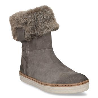 Kožená zimní obuv s kožíškem weinbrenner, šedá, 596-2633 - 13