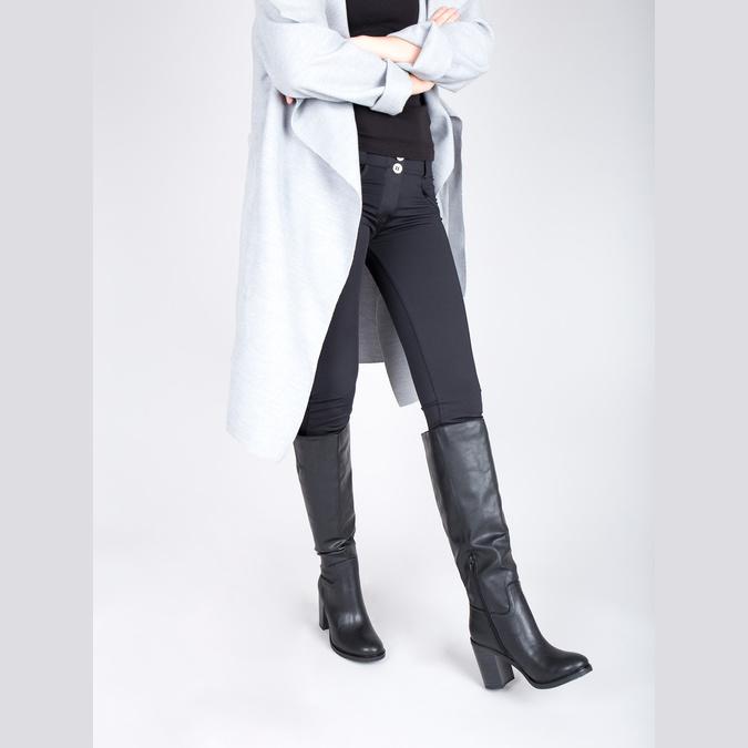 Dámské kozačky na silnějším podpatku bata, černá, 791-6612 - 18