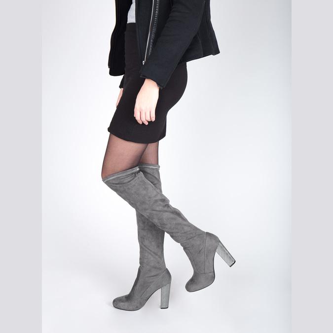 Dámské kozačky nad kolena bata, šedá, 799-2606 - 18