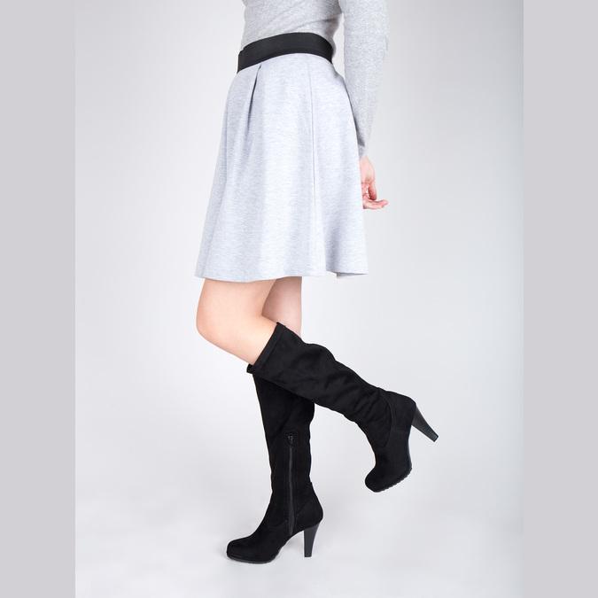 Dámské kozačky na podpatku bata, černá, 799-6602 - 15