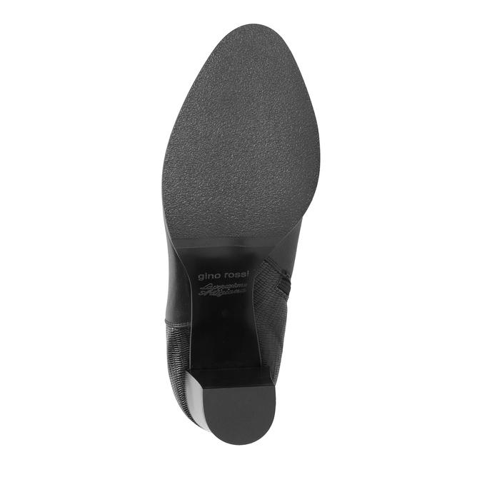 Kožená kotníčková obuv na podpatku gino-rossi, černá, 714-6010 - 26