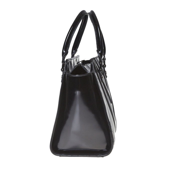 Lakovaná kabelka s prošitím bata, černá, 961-6708 - 17
