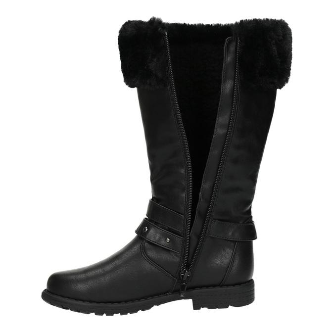 Dívčí kozačky s kožíškem mini-b, černá, 391-6600 - 19