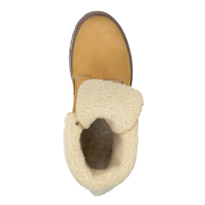 Kožená kotníčková obuv s kožíškem weinbrenner, hnědá, 596-8638 - 19