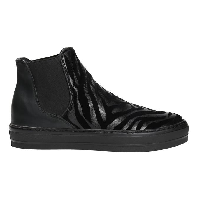 Kožená kotníčková obuv se zvířecím vzorem bata, černá, 546-6601 - 15