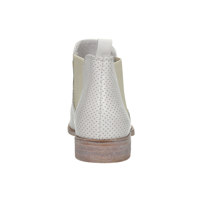 Kožené Chelsea boty s perforací bata, bílá, 596-1651 - 17