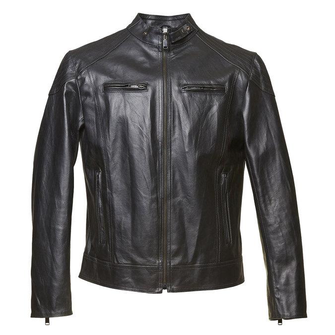 Pánská kožená bunda bata, černá, 974-6144 - 13