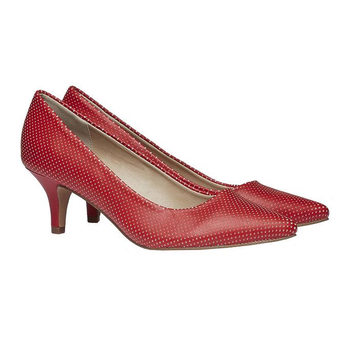 červené lodičky s perforací, červená, 621-5384 - 26