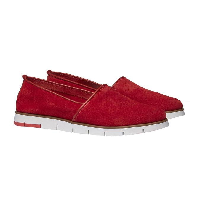Kožené Slip-on boty s perforací flexible, červená, 513-5200 - 26