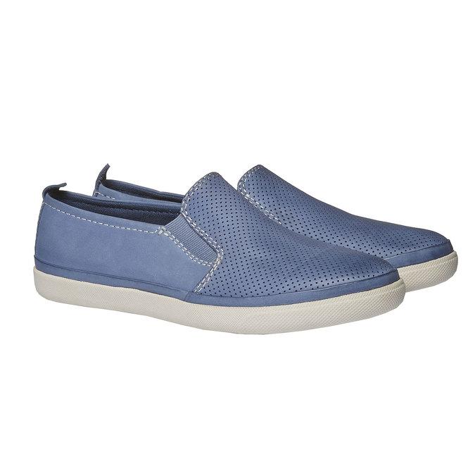 Kožené Plim Soll boty s perforací bata, modrá, 514-9197 - 26