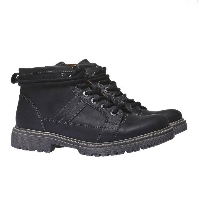 Kožená obuv s originálními tkaničkami weinbrenner, černá, 594-6409 - 26