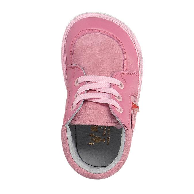 Dívčí kožená domácí obuv bata, růžová, 104-5001 - 19