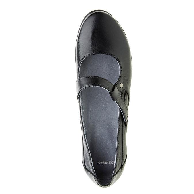 Kožené baleríny s páskem přes nárt bata, černá, 524-6497 - 19