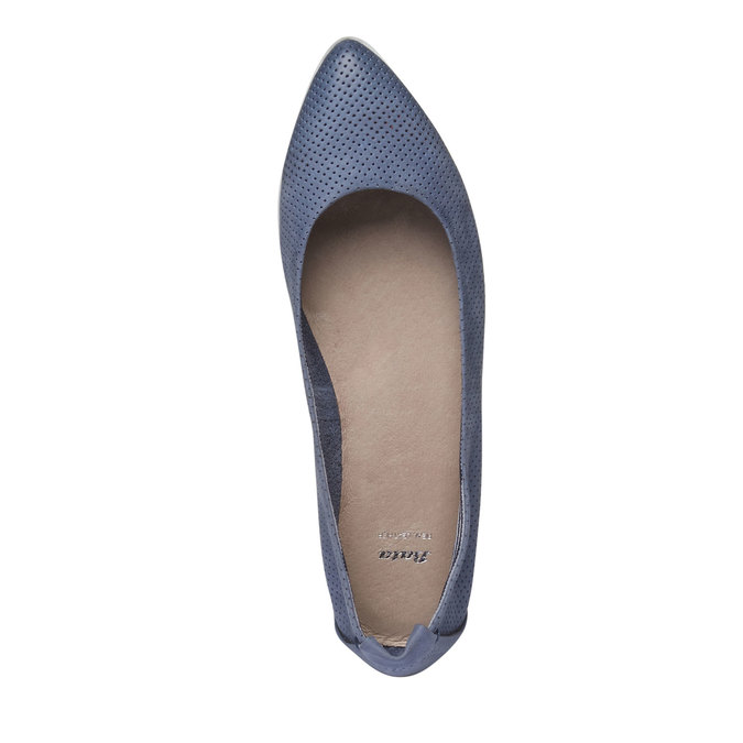 Kožené baleríny s perforací bata, modrá, 526-9486 - 19