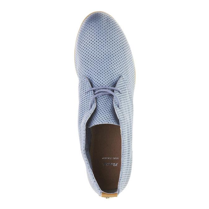Kožené kotníčkové polobotky s perforací bata, modrá, 526-9495 - 19