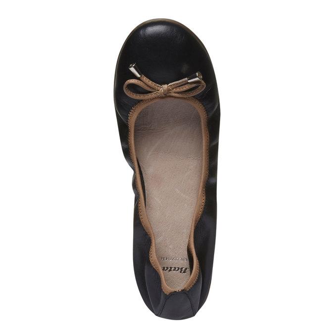 Černé kožené baleríny bata, černá, 524-6485 - 19
