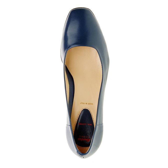 Dámské kožené lodičky na stabilním podpatku flexible, modrá, 624-9706 - 19