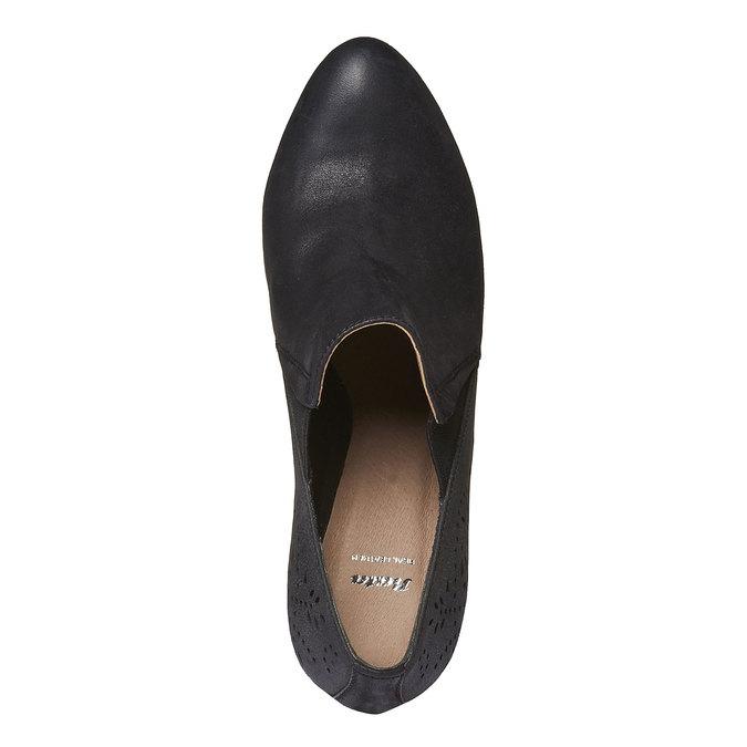 Kožené polobotky na podpatku bata, černá, 724-6949 - 19