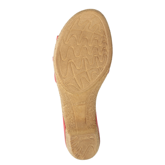 Kožené sandály na nízkém podpatku bata-touch-me, červená, 666-5203 - 19
