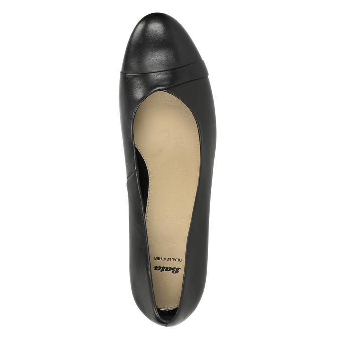 Černé kožené lodičky bata, černá, 624-6600 - 19